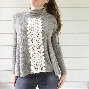 Altar'd State Gray Turtleneck Sweater Lace Front